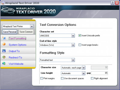 Miraplacid Text Driver SDK TE 6.1 screenshot
