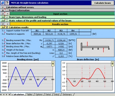 MITCalc - Beam Calculation 1.17 screenshot