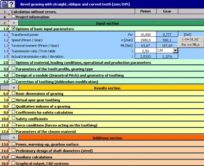 MITCalc - Bevel Gear Calculation 1.18 screenshot