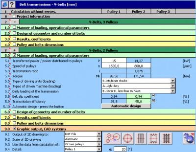 MITCalc - V-Belts Calculation 1.20 screenshot