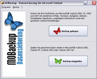 MOBackup - Outlook Backup Software 2.43 screenshot
