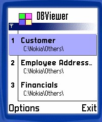 Mobile Database Viewer(Access,xls,Oracle)for S60 1.5 screenshot