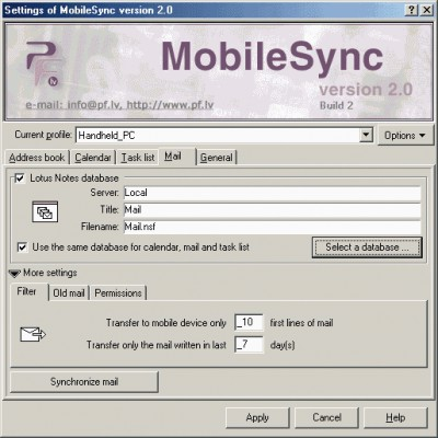 MobileSync 2.1.2 screenshot