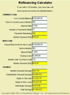 MoneyToys Refinancing Calculator 2.1.1 screenshot
