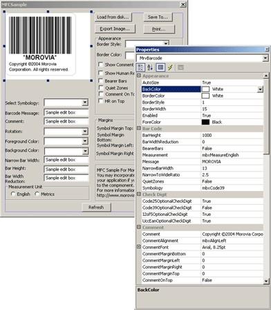 Morovia Barcode ActiveX Control 3.0 screenshot
