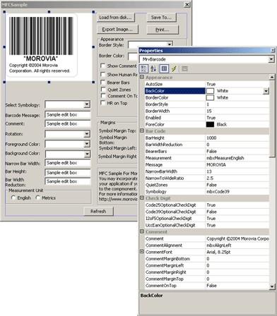 Morovia Barcode ActiveX Control 3.6 screenshot