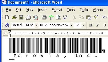 Morovia Code39 (Full ASCII) Barcode Fontware 1.0 screenshot