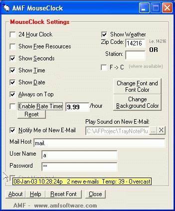 MouseClock 3.2 screenshot