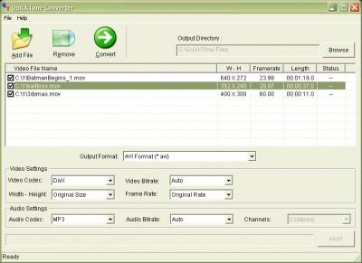 MOV QT QuickTime Video Converter 2007.37 screenshot