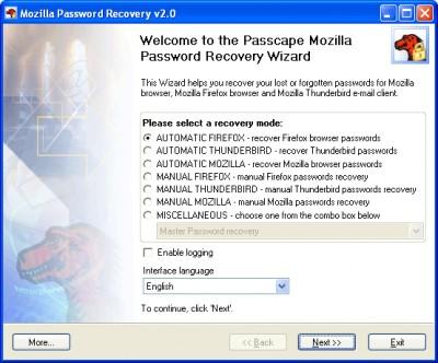 Mozilla Password Recovery 5.7.0 screenshot