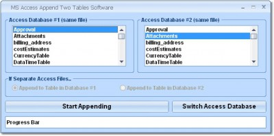 MS Access Append Two Tables Software 7.0 screenshot