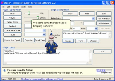 MS-Agent Scripting Software 2.3 screenshot