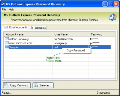 MS Outlook Express Password Recovery 2.5 screenshot