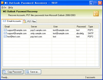 MS Outlook Password Recovery 2.5 screenshot