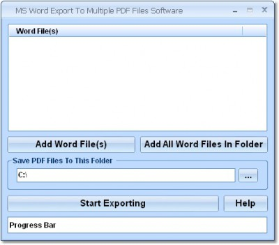 MS Word Export To Multiple PDF Files Software 7.0 screenshot