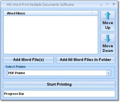 MS Word Print Multiple Documents Software 7.0 screenshot