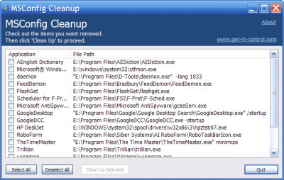 MSConfig Cleanup 1.50 screenshot