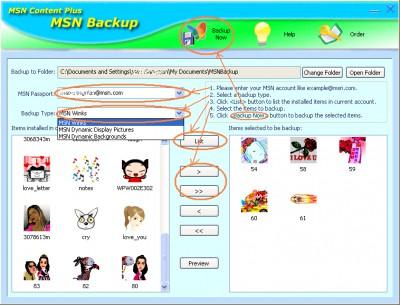 MSN Backup 2.0 screenshot