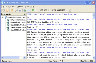 MSN Checker Sniffer 2.5.2 screenshot