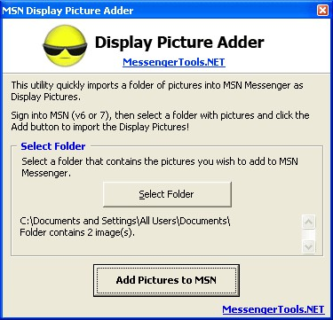 MSN Display Picture Adder 1.0 screenshot