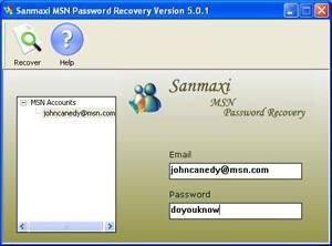 MSN Explorer Password Recovery Software 5.0.1 screenshot