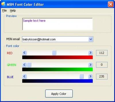 MSN Font Color Editor 3.000 screenshot