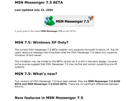 MSN Messenger 7.5 InfoPack 1.0 screenshot