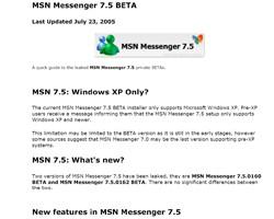 MSN Messenger 7.5 InfoPack 1.0 screenshot