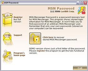 MSN Messenger Password 1.5.305 screenshot