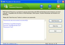 MSN Password Recovery 1.3 screenshot