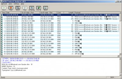 MSN Protocol Analyzer 0.9.1 screenshot
