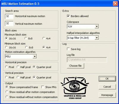 MSU Motion Estimation VirtualDub plugin 1.0 screenshot