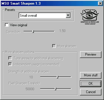 MSU Smart Sharpen for VirtualDub Video plugin 1.3 screenshot