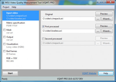 MSU Video Quality Measurement Tool 11.1 screenshot