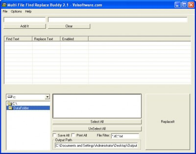 Multiple File Find Replace Buddy 2.1 screenshot