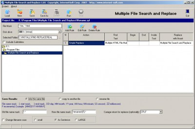 Multiple File Search and Replace 2.31 screenshot