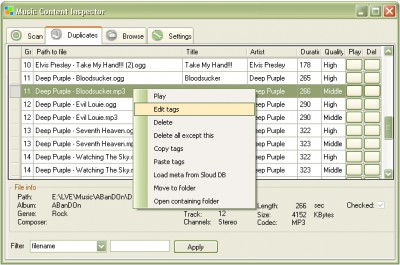 Music Content Inspector 1.0 screenshot