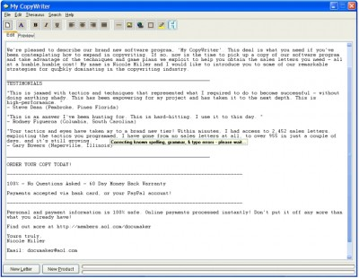 My CopyWriter 1.0 screenshot