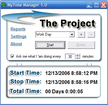 My Time Manager 1.0 screenshot