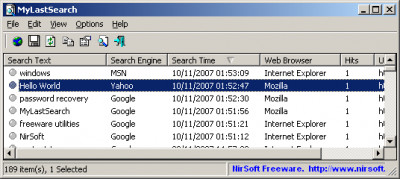 MyLastSearch 1.65 screenshot