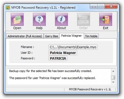 MYOB Password Recovery 1.1S screenshot
