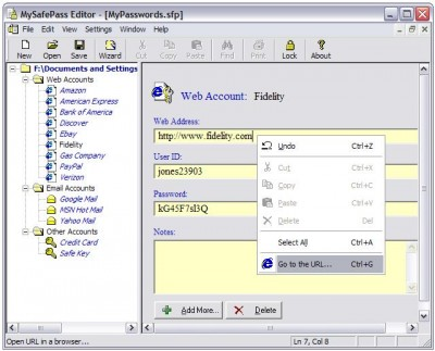 MySafePass Editor 2.5.1 screenshot