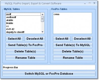 MySQL FoxPro Import, Export & Convert Software 7.0 screenshot