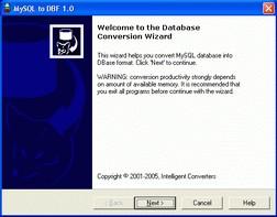 MySQL-to-DBF 3.1 screenshot