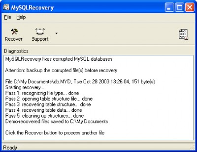 MySQLRecovery 1.5.0746 screenshot