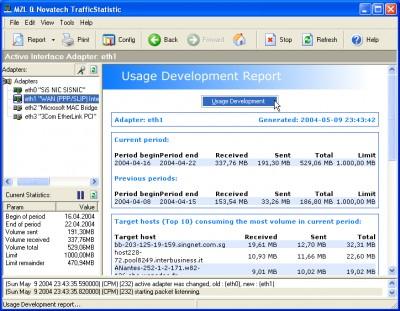 MZL & Novatech Traffic Statistics 1.2.0.1 screenshot