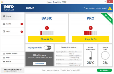 Nero TuneItUp Free 2.8.0.84.0 screenshot