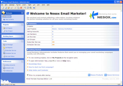 Nesox Email Marketer Personal Edition 1.95 screenshot