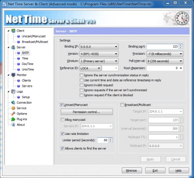 Net Time Server & Client 3.1.5.2295 screenshot