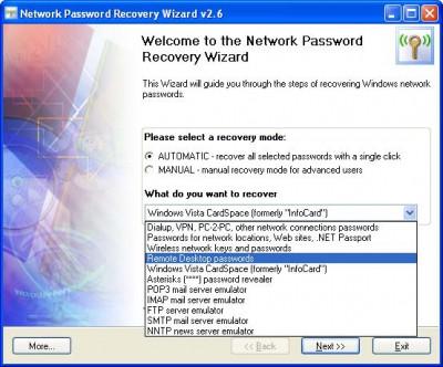 Network Password Recovery Wizard 5.8.4 screenshot